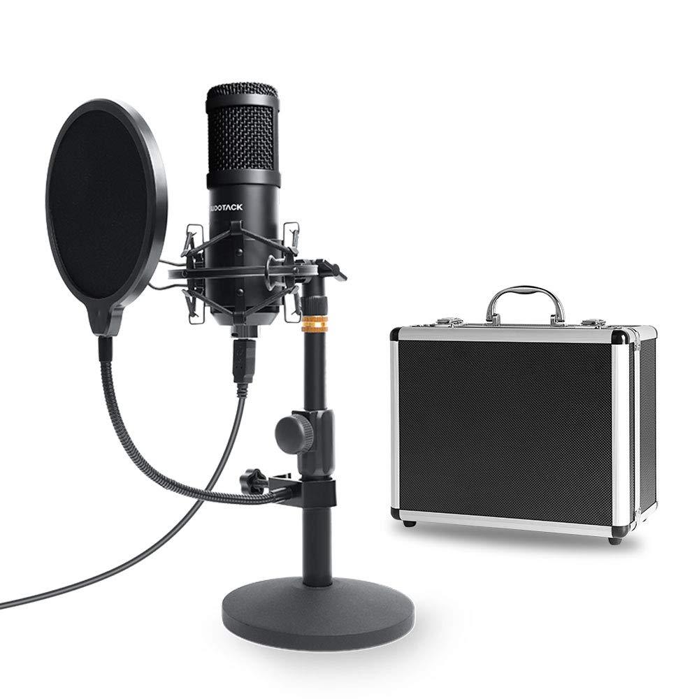 Microfono Para Pc Con Transmision Usb Podcast Con Estuche De Almacenamiento De Aluminio, Sudotack Professional 96khz / 2