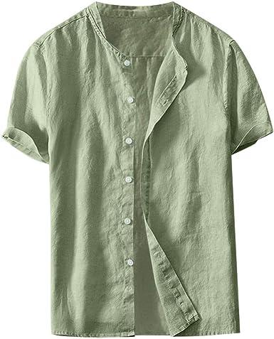 Overdose Camisas Hombre Lino Camisetas para Hombres Unicolor ...