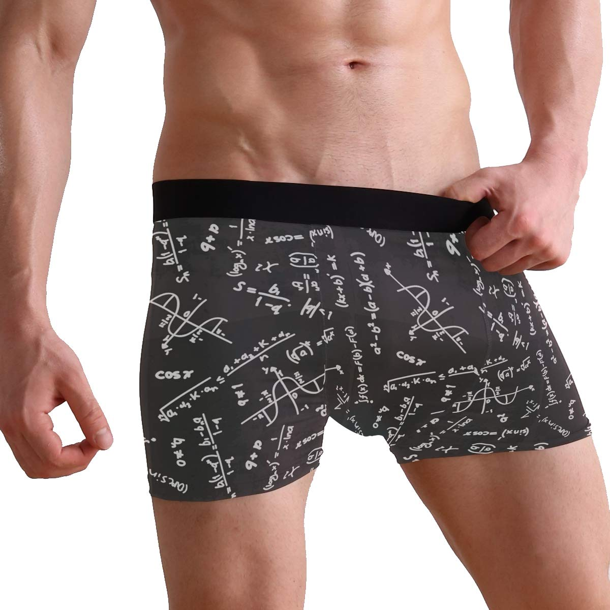 2 Charlley Lee Mens Soft Breathable Black Math Linear Equations Underwear Boxer Briefs