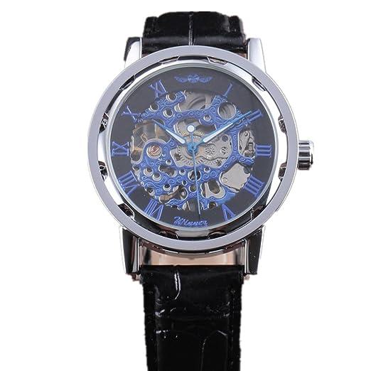 Ganador de cuero de los nuevos hombres clásicos Dial Esqueleto Mecánico deporte ejército reloj de pulsera: Amazon.es: Relojes