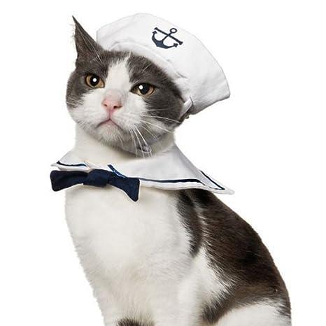 Namsan Disfraz de Gato para Perro, Sailor, Sombrero, Azul Marino ...