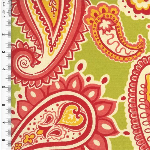 (Designer Cotton Green/Pink Paisley Print Decorating Fabric, Fabric by The Yard)