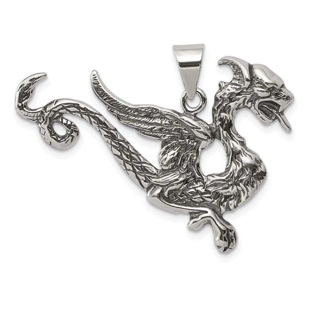 FB Jewels Solid Sterling Silver Antiqued Dragon Charm