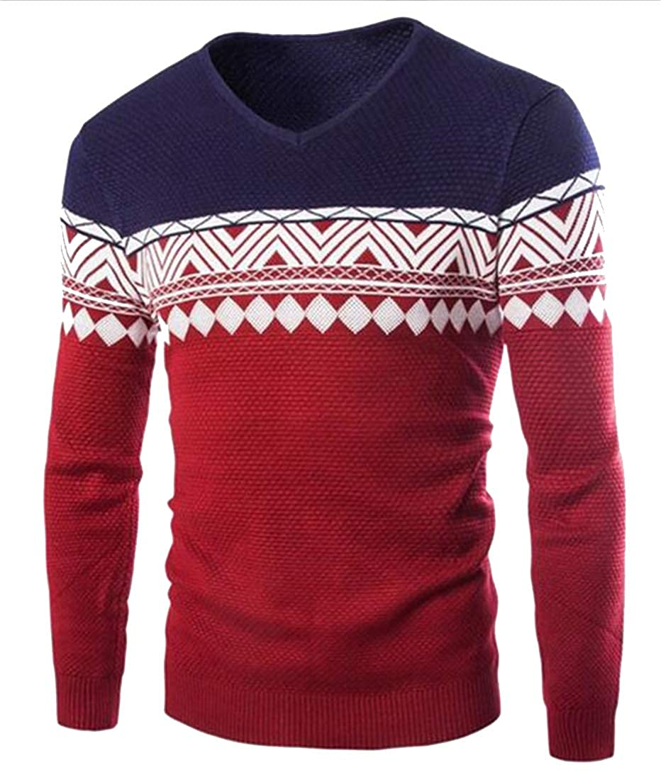 Bravepe Mens V Cut Long Sleeve Knitted Floral Regular Fit Pullover Sweaters