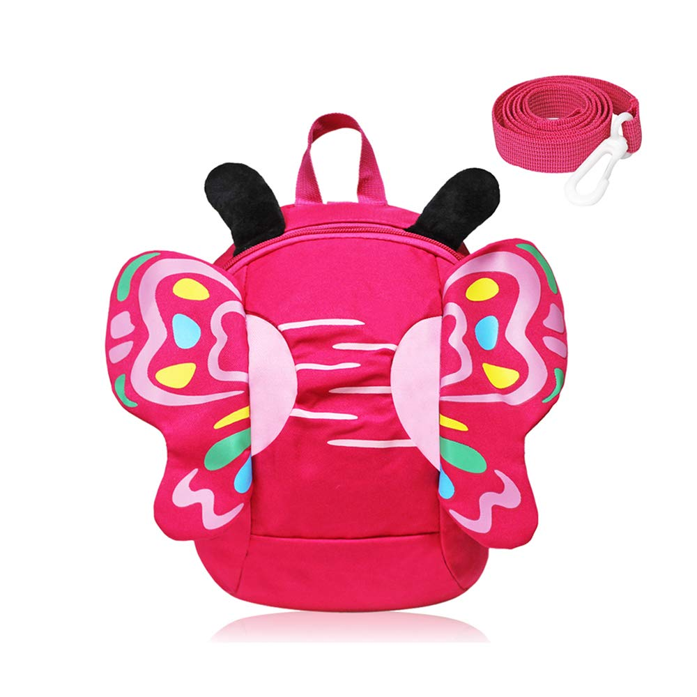 GinTai Canvas Butterfly Kid's Backpack Rose Red