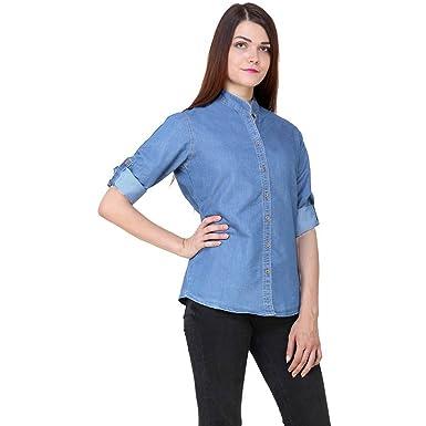 Girls Womens Solid Casual Long Sleeves Denim Light Blue Shirt
