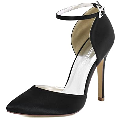 a1cdc272589 ElegantPark HC1602 Women's Pointed Toe High Heel Ankle Strap D'Orsay Satin  Dress Pumps Black