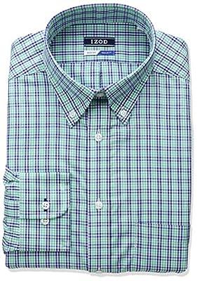 IZOD Men's Regular Fit Plaid Buttonfown Collar Dress Shirt