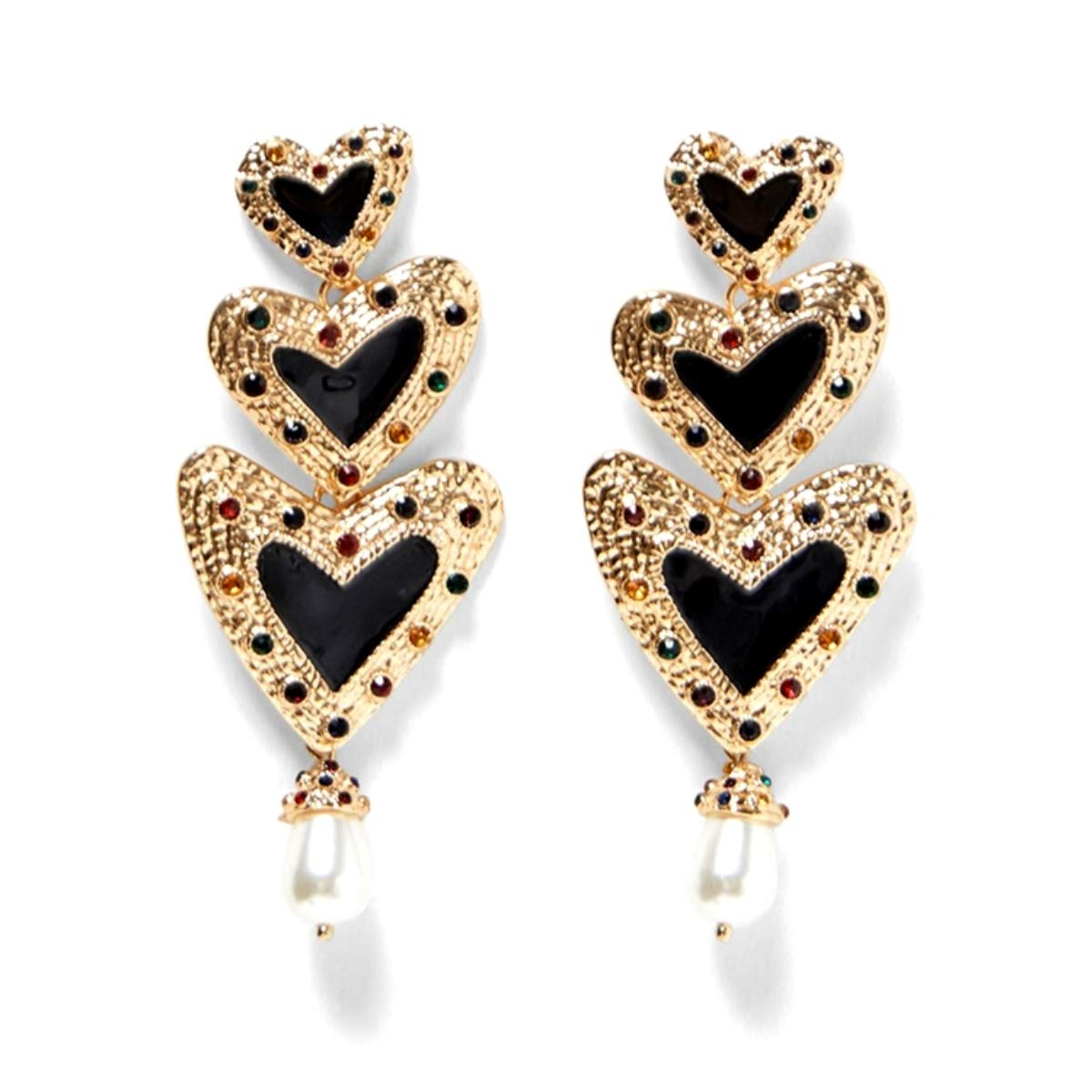 d1ce025ee Amazon.com: Global Huntress Sophisticated Long Triple Hearts in Gold Tone  Adorned with Multi Colored Stones Dangle Drop Earrings with Rhinestones:  Jewelry
