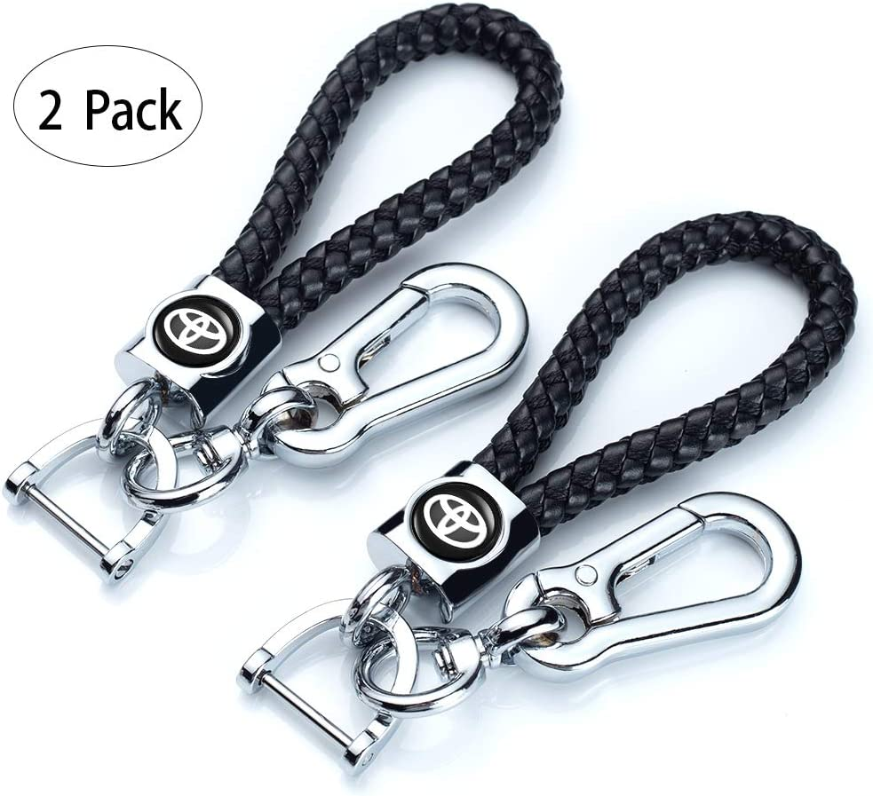 Black Genuine Leather Car Logo Keychain Suit for Toyota Key Chain Keyring Family Present for Man and Woman Elegant,Durable