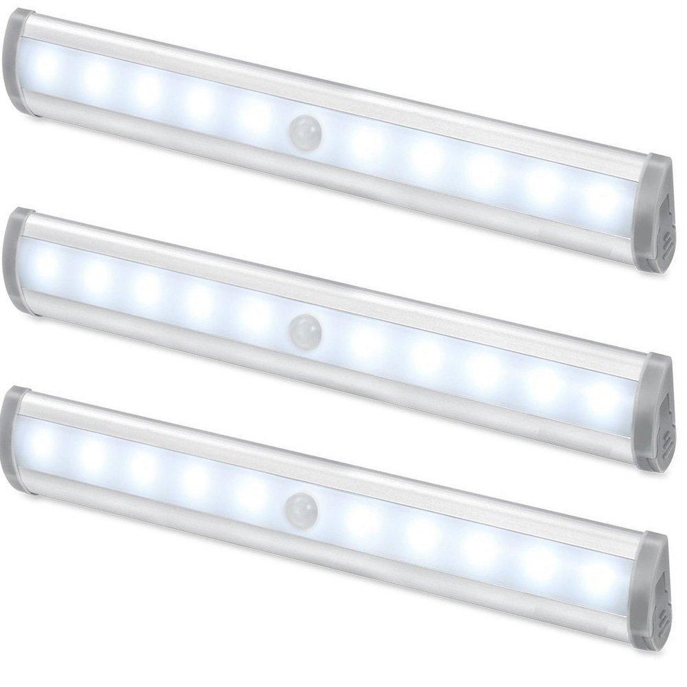 3er LED Unterbauleuchte, Schrankleuchte mit Sersor, Sensorleuchte, Kabellose Notlicht, batteriebetrieben,(Kaltweiß)