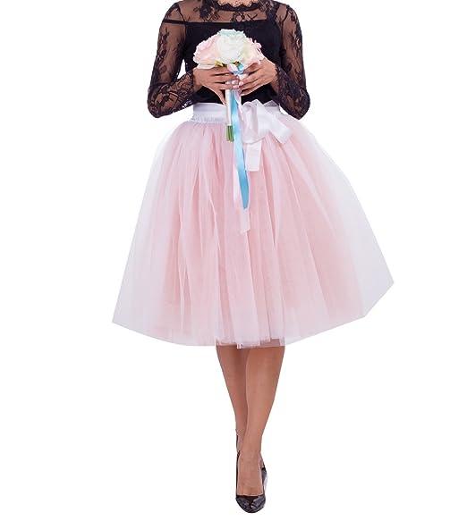 LaoZan Mujer Falda de Cintura Elástica Tutú Corta Tul Fiesta Boda ...