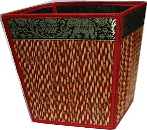TOPMOST N-9104, Handmade Thai Woven Straw Reed Wicker Square Waste Basket with Silk Elephant Design by Topmost