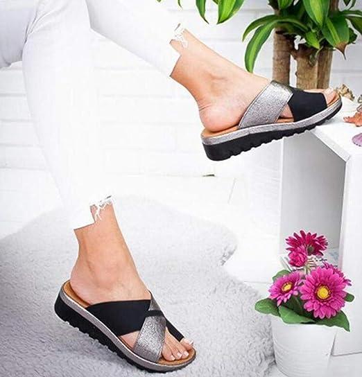Corrector De Juanetes Ortopédico para Mujeres Zapatos Ortopédicos, Sandalias Correctoras Suaves con Dedo Gordo del Pie Suela Plana De Cuero De PU Zapatillas ...