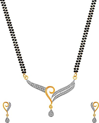 2ccf407668 Quail American Diamond Gold Plated Mangalsutra Set for Women/Mangalsutra  for Women