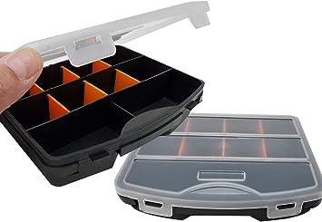 Mini caja de almacenamiento con separadores | Compartimento de 10 ranuras para herramientas, tornillos tuercas, clavos y pernos organizador de compartimentos, cubierta transparente 19 cm x 14 cm (2 unidades): Amazon.es: Bricolaje y herramientas