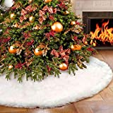 Vlovelife Christmas Tree Skirt, 48 Inches Pure White Faux Fur Tree Skirt for Merry Christmas & New Year Party Holiday Home Decorations
