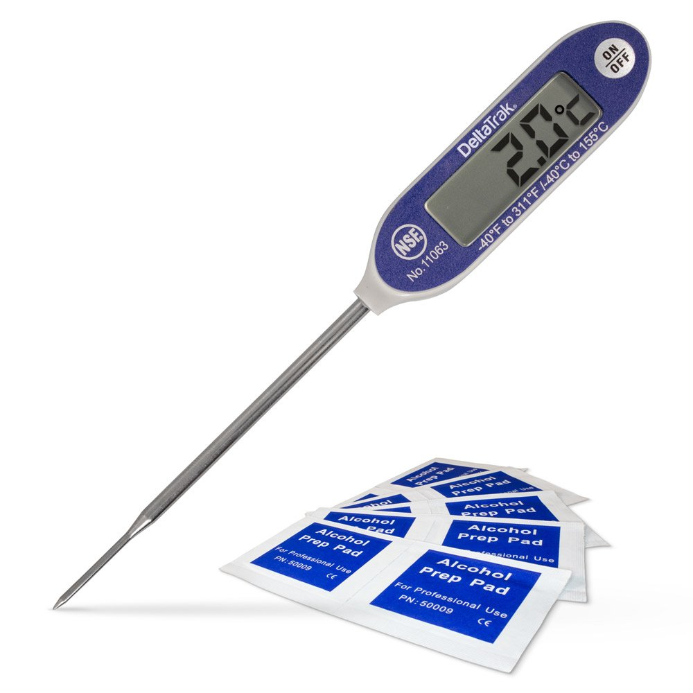 DeltaTrak 11071 FlashCheck Thermometer Bundle, includes 11063 Auto-Cal Needle Tip Probe and Alcohol Pads