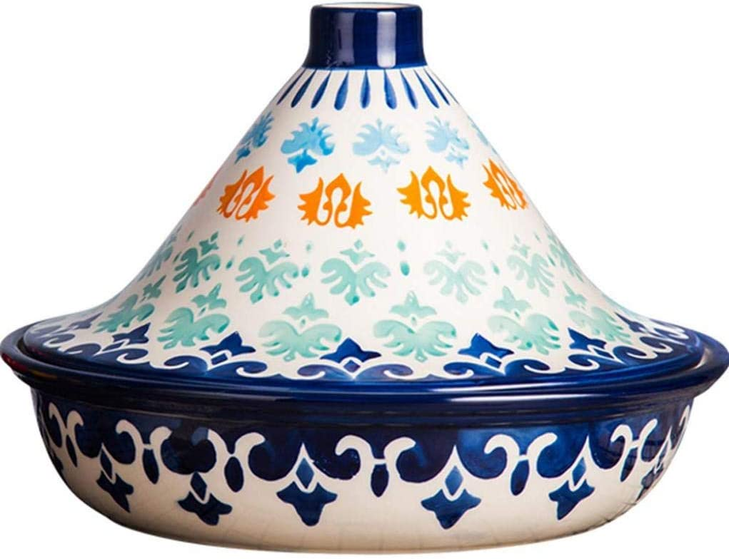 MYYINGBIN Moroccan Tagine Pot Ceramic Micro Pressure Cooker Handmade Underglaze Casserole Suitable for Oven Microwave Dishwasher Disinfection Cabinet