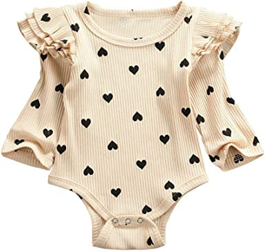 Infant Unisex Winter Long Sleeve Ruffles Floral Print Romper Jumpsuit Clothes
