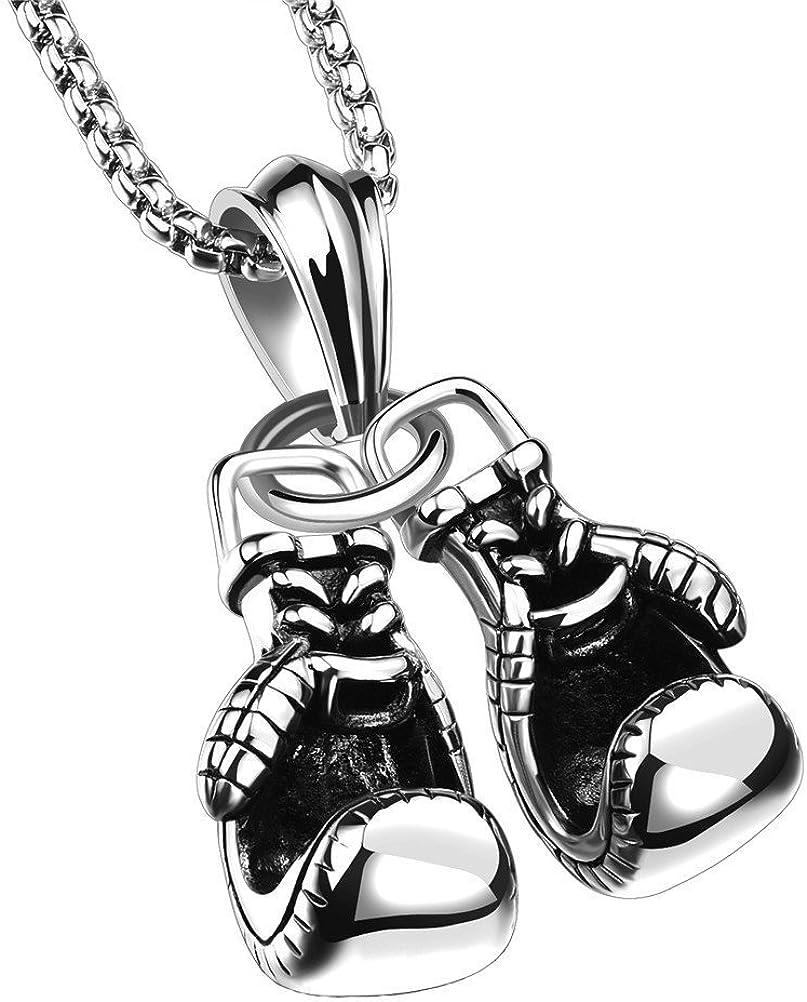 Crownly Gants de Boxe en Acier Inoxydable 316l Charme Pendentif Collier Noir//Or//Argent