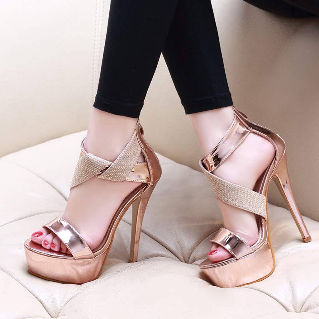 Orangeskycn Women Sandals Slip Pointed Toe Super High Heel Shoes Buckle Strap Gladiator Party Wedding Sandals Gold by Orangeskycn Women Sandals (Image #3)