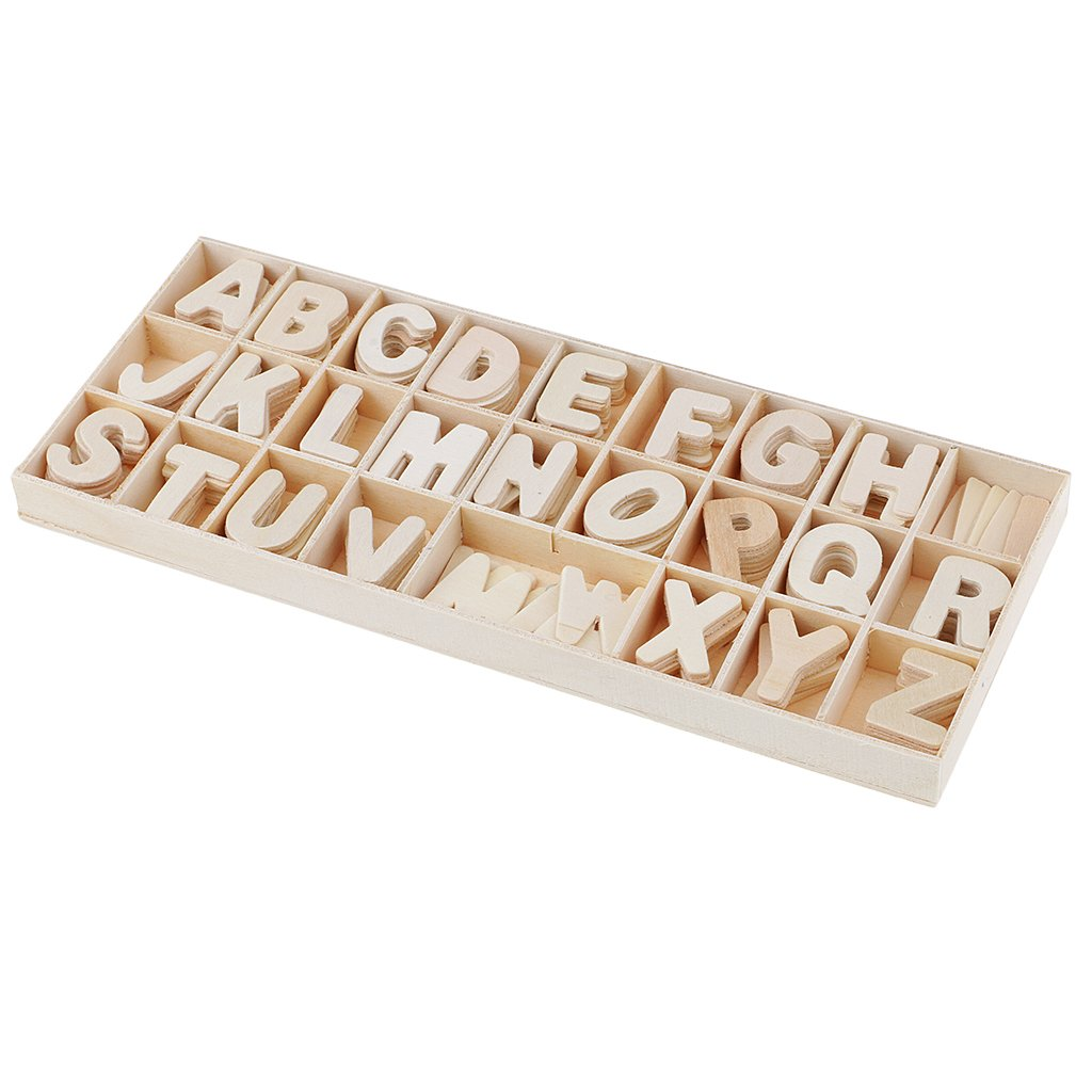 Flameer 156 Pieces Small Wood Letters Wooden Alphabets Letter Craft Pieces with Storage Tray Kids Learning Toys Wedding Table Scatters Home Decorations DIY
