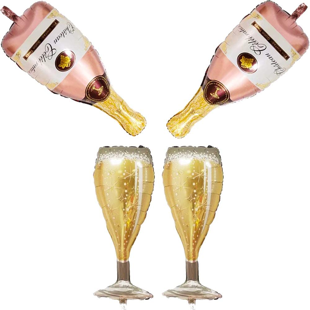Amazon Com 4 Pcs Champagne Bottles And Goblet Wine Glasses Large Mylar Foil Helium Balloons 36in Pink Golden Pop Decoration For Party Birthday Celebration Anniversary Graduation Family Gathering Cheers Toys