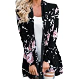 LMMVP Cardigan Femme, Femmes Manche Longue Veste à Fleurs Kimono à Devant Ouvert Pardessus Cardigan Décontracté (M, Noir)