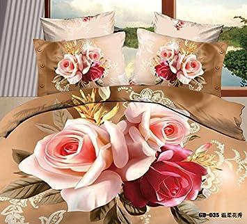 3D juego de rosa marrón diseño de peonías 4567 piezas sábana bajera ajustable (de goma