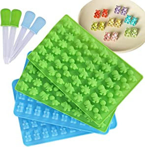 4 Pack Silicone Gummy Bear and Dinosaur Molds with 4 Droppers, Making Gummy Candy Chocolate with Your Kids