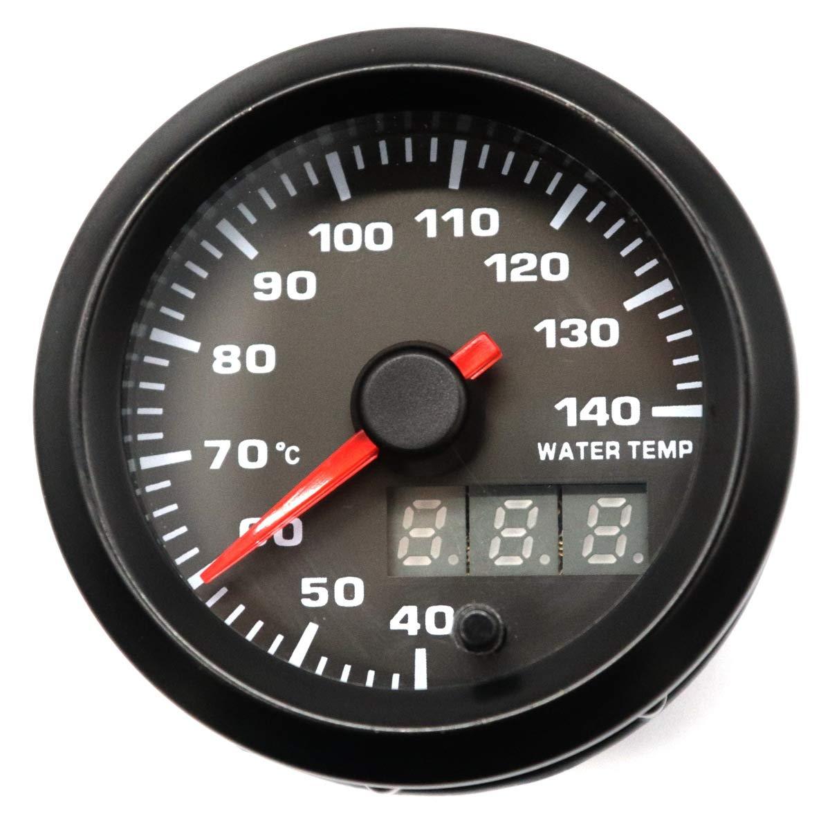 HERCHR Car 12V 52MM 2 Inch LED Backlight Water Temperature Meter, 40~140°C With Sensor, Black