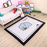 dream_home Gym Play Rug Elephant - Playroom Mats Chic Carpets Adult Twin Size with Sides Kids Toddlers