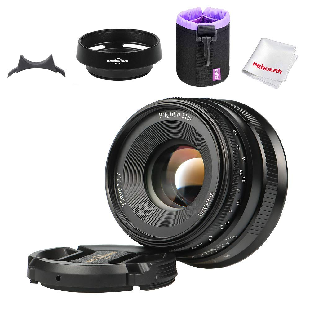 Brightin Star 35mm F1.7 APS-C Large Aperture Prime Lens Manual Cameras Lens for Sony E-Mount FS7, FS7M2, FS5, FS5M2K A7, A7II, A7R, A7SII, A7III, A7RIII, A3000, A6500, W/Focus Wrench, Black by brightin star 35mm F1.7