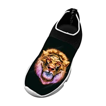 Sports Flywire Knitting Shoe For Unisex Child,Print White Lion Face,