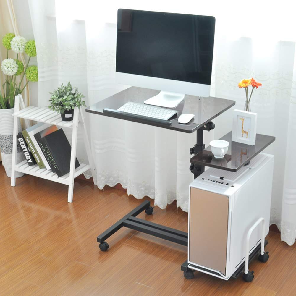 XUEXUE Simple Home Mobile Desktop Bed Computer Desk Bedside Lift Lazy Stopper Ledge Folding Computer Desk Computer Work Station Free to Move Home Offic Student Dorm,B