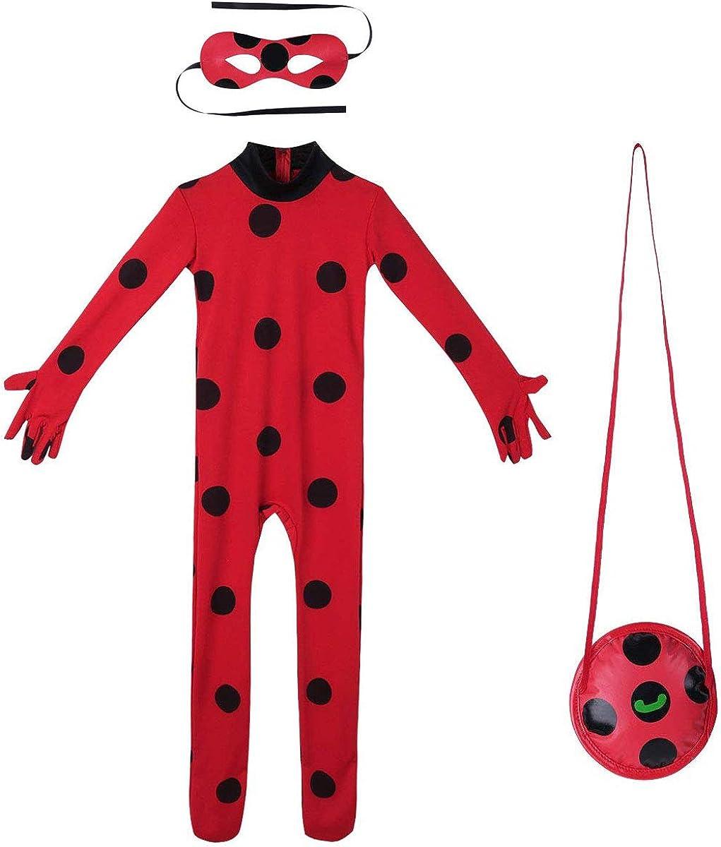 URAQT Niño Ladybug, Disfraz de Cat Noir, Mono de Superhéroe de Cosplay para Niños, Vestido Elegante para Niños y Niñas para Fiesta/Carnaval/Halloween