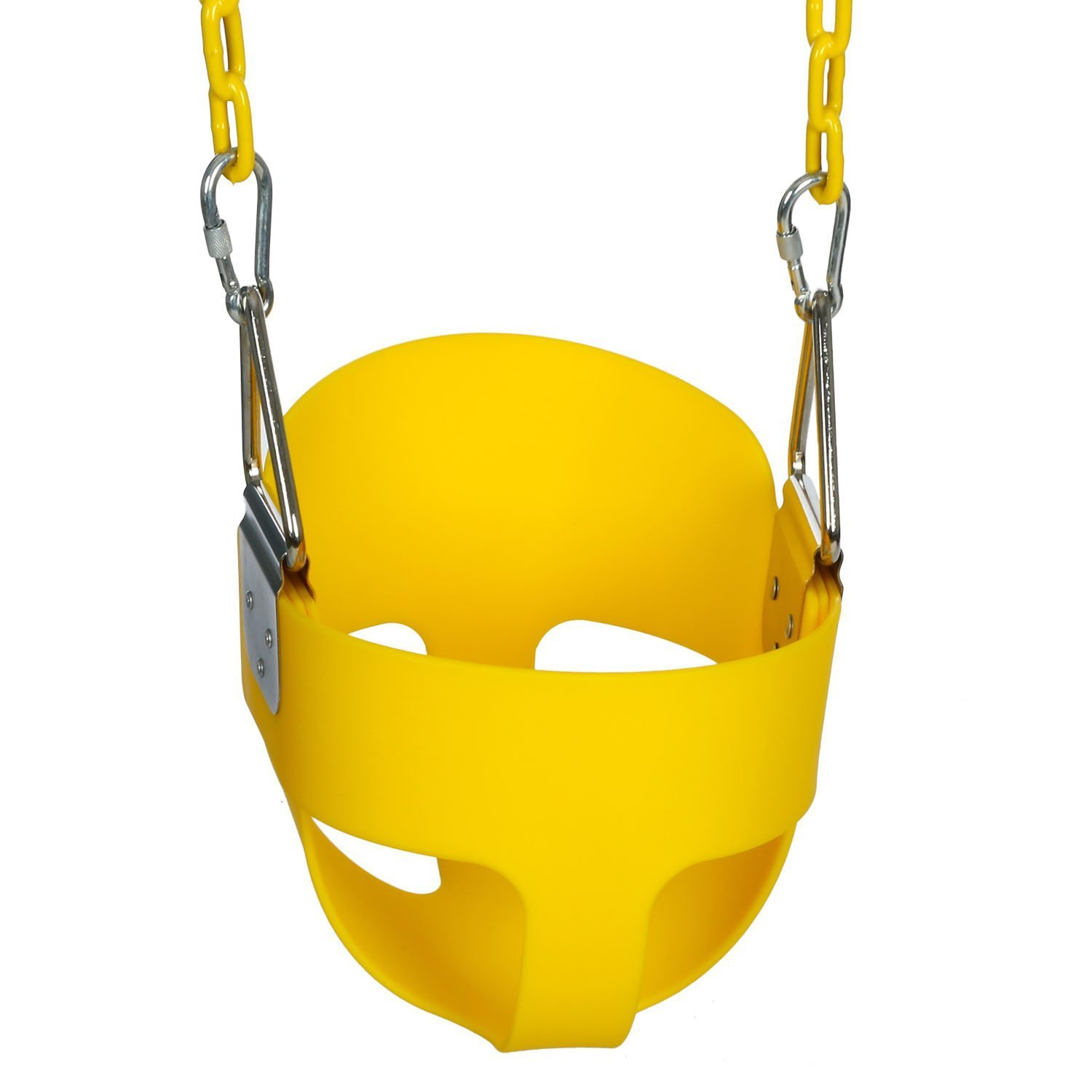 Cheesea Toddler's Swing Seat with Coated Swing Chains High Back Full Bucket Infant Swinging Set Ideal Kids Outdoor Toy (Yellow)