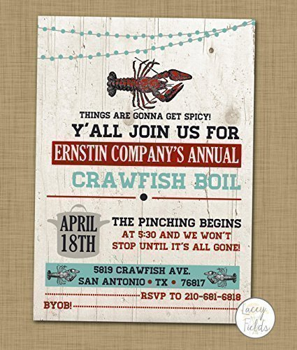 Amazoncom Crawfish boil invitation Crawdad party invite Handmade