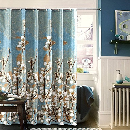 Magnolia Flower Pattern Stall Shower Curtain - Fabric Bathroom Curtain Home Blue, Brown, Gold, White (And Blue Curtains Brown Shower)