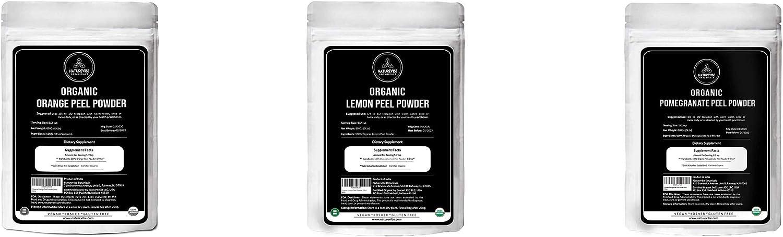 Naturevibe Botanicals Orange Peel Powder (5lbs) Lemon Peel Powder (5lbs) Pomegranate Peel Powder (5lbs) | Organic Peel Powders Bulk Combo