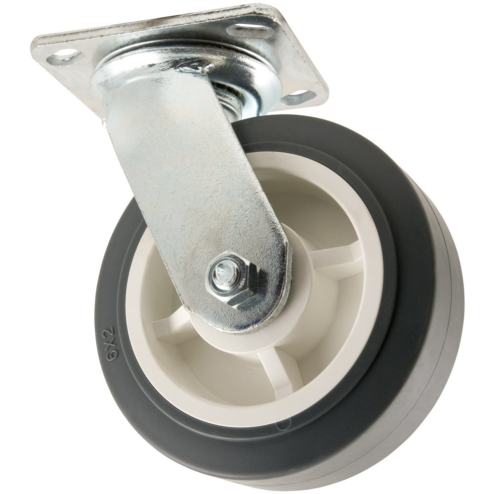Heavy Duty TPR Rubber Caster Wheel with Swiveling Top Plate 6 Inch 500 lb. Load Capacity Non Marking for Use in Hospitals Food Service Other Institutional Applications