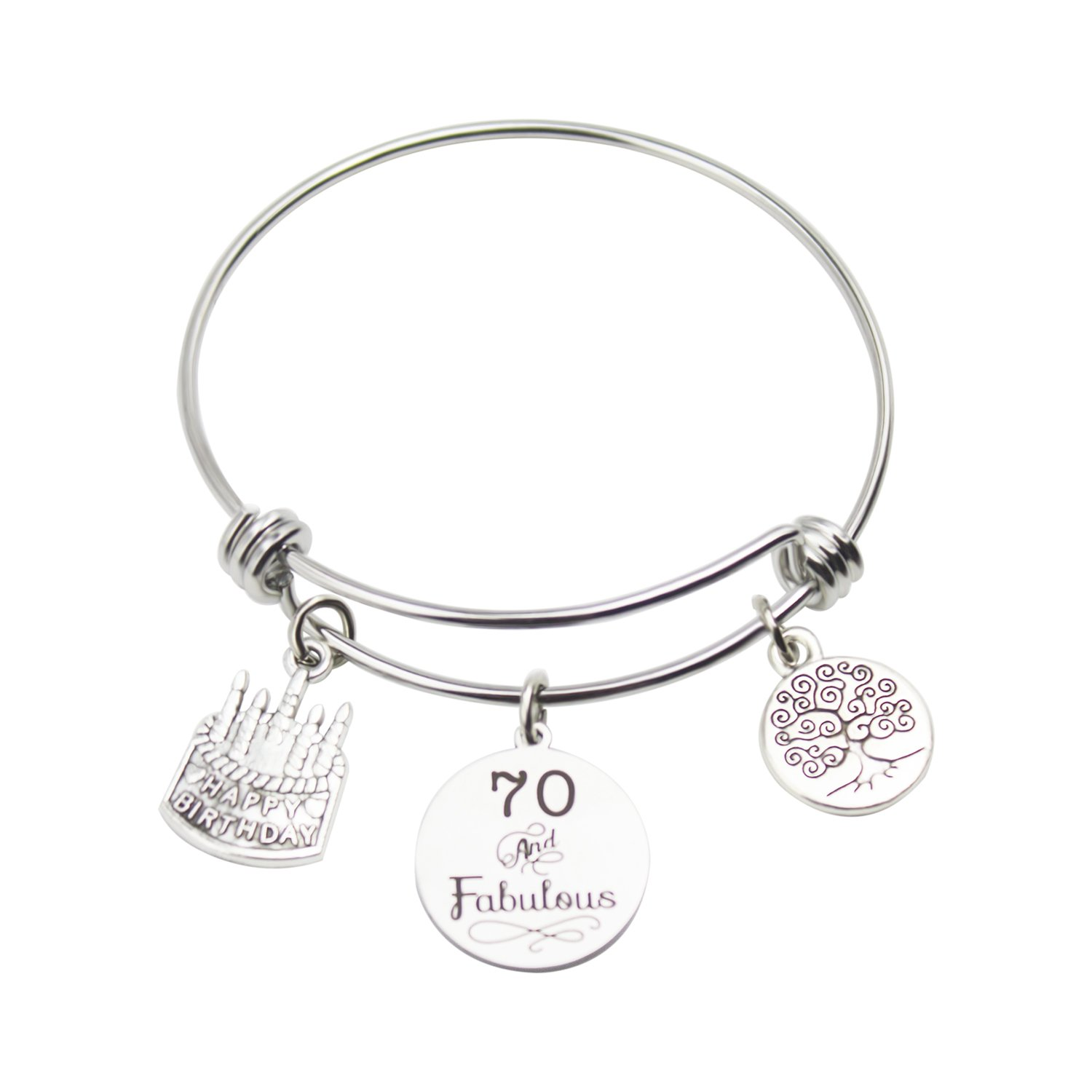 Birthday Bracelet Age Gift Bangle Stainless Steel Expandable Charm with Birthday Cake (70th)