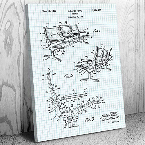 - Eames Airport Terminal Chairs Canvas Print, Eames Chair, Herman Miller, Furniture Designer, Bus Seating, Bench Seats Graph Paper (12
