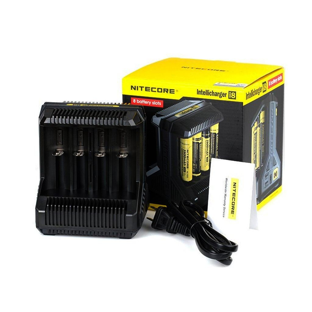 NITECORE I8 INTELLIGENT UNIVERSAL BEST BATTERY CHARGER CHARGER FOR 18650 RCR123A 17650 17670 14500 AA AAA AND MORE COMES WITH MACROMALL BATTERY ORGANIZER AND CAR CHARGER