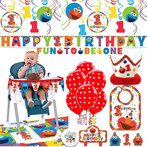 - Sesame Street's Elmo Fun To Be One Birthday Party Supplies Decorations Pack With Swirl Decorations, Bib, High Chair Deco Kit, 6 Balloons, Birthday Banner, Candles, Crown, and Bday Pin By Another Dream