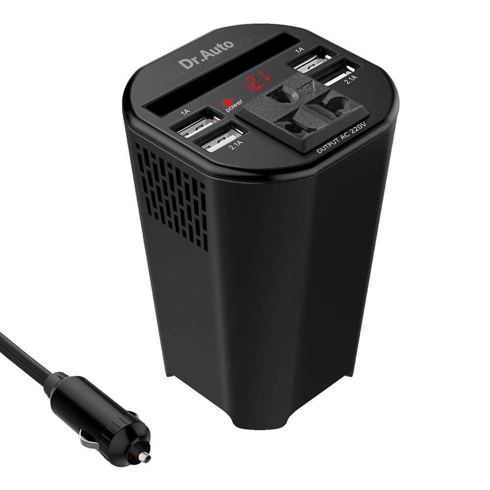 Dr.Auto Inversor de Corriente 150W de DC 12V a AC 220V Inversor de Energí a para Automó vil con 4 USB Cargador en Forma de Copa