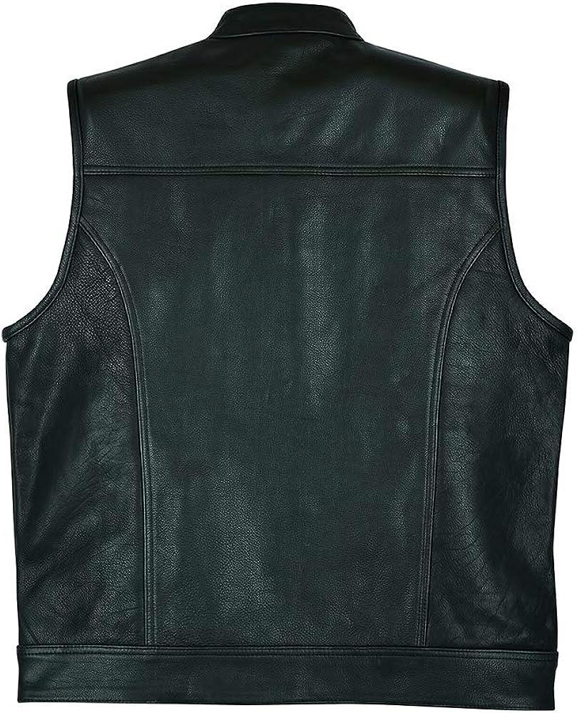 con Bolsillos Profundos Leatherick SOA Chaleco de Motociclista de Cuero Genuino para Hombre para Montar y Corte de Moda de Estilo Chaleco