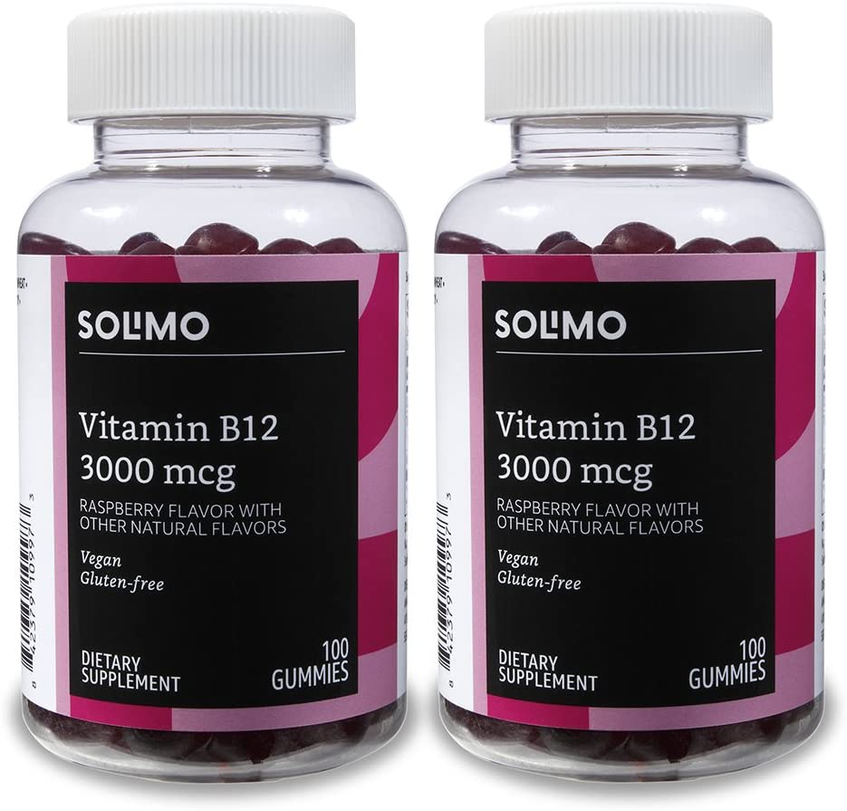 Amazon Brand - Solimo Vitamin B12 3000 mcg - Normal Energy Production and Metabolism, Immune System Support - 100 Gummies, Pack of 2 (2 Gummies per serving)
