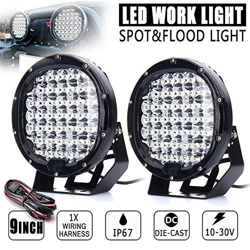 ZHUOTOP 9Inch 690000LM SUV Car LED Work Light Spot Flood Driving Lamp Offroad Truck 7650W 45LED by ZHUOTOP